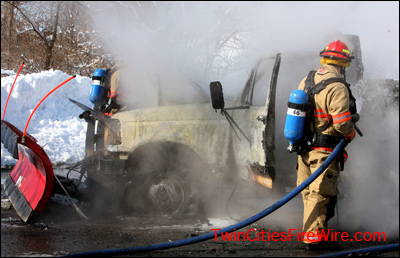 Snow plow fire, Snow plow burns, South St. Paul, South Metro Fire