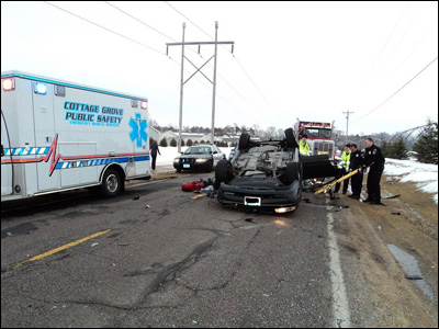 Cottage Grove Fire, Cottage Grove Police, Overturned Car, Accident, Minnesota