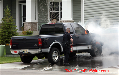 Cottage Grove Fire, Cottage Grove Police, Car Fire, Minnesota, Extinguisher, Pickup, Twin Cities Fire Wire
